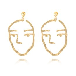 Wholesale Statement Stud Earrings - Alloy Abstract Art Gold Silver Color Human Face Dangling Earrings Maxi Statement Ear Studs Party Jewelry For Women Gift D451L