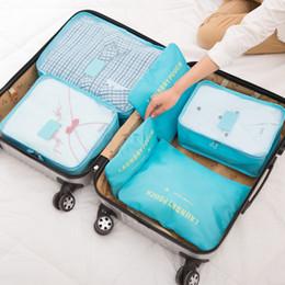 Cubes d'emballage en Ligne-6 pcs sac de rangement imperméable à l'eau de voyage organisateur de bagages d'emballage cubes sac à linge 3 cubes de voyage 3 sachets d'emballage organisateur poche