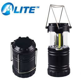 Wholesale Pop Lamp - [Free Ship] ABS Plastic AA Tent Light Collapsible Multi-function Magnetic COB Pop up Lantern Camping lamp