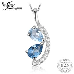 Londres pingentes on-line-Jewelrypalace 1ct natural céu azul topázio e london topázio azul cluster pingente de prata esterlina 925 jóias não incluem uma corrente