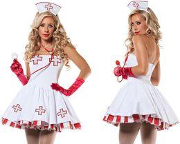 krankenschwestern einheitlich weiß Rabatt Sexy Krankenschwester Kostüm New Porn Frauen Weiße Spitze Uniform Dessous Hot Erotic Dessous Aushöhlen Verband Cosplay Sexy Krankenschwester Kostüm Y18102205
