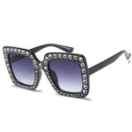 Wholesale Green Acrylic Diamonds - Womens Sunglasses Brand Designer Rhinestone sSunglasses Squar Big Diamond Color Retro Sunglasses For Women Four Color