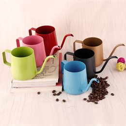 Wholesale Mini Metal Pots Wholesale - Mini Stainless Steel Hanging Ear Hand Blunt Coffee Pot Teflon Cappuccino Art Cups With Elegant Curves Of The Long Necked Kettle 28sd2 Z