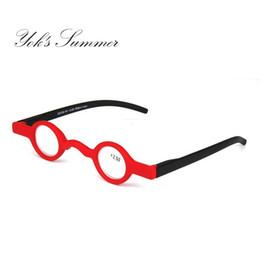 Telai di vetro in plastica neri rotondi online-Calda piccola rotonda Mini occhiali da lettura Vintage Rosso Nero Plastica Piccola cornice Lettori Occhiali Diottrie +1.50 +2.00 +2.50 WL1088