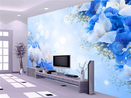 Wholesale Dreams Chinese - Blue Dream Flower photo wall paper 3D stereoscopic wall paper Cafe wallpaper mural painting for living room flooring