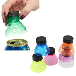 wholesale bottled pop UK - Reusable Can Convert Pop Can Bottle Plastic Caps Opener Soda Saver Beer Beverage Top Clear Lid Protector