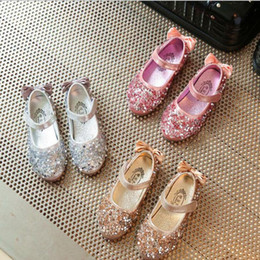 Wholesale Sequin Shoes For Girls - Girls Children Shoes Sequin Bow Party Dance Princess Flat Kids Shoes For Girl Pu Leather Shoe sequin casual shoes KKA4141