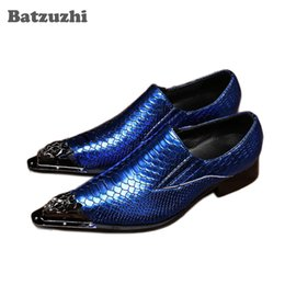 Scarpe da pesca taglia 11 online-2019 scarpe da uomo artigianali di lusso scarpe in pelle oxford scarpe a punta divise scaglie di pesce modello affari scarpe da sera big size 11 12 wedding party