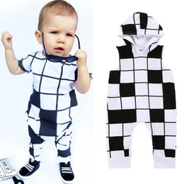 Wholesale Boys Plaid Shorts - Kids Clothing Newborn Infant Baby Romper Boys Girls White Black Grids Short Sleeve Long Pants Hooded Romper Outfits Jumpsuit Clothes