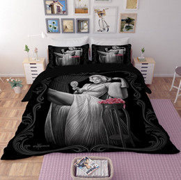 wash machine size Promo Codes - Printed Bedding Set 3pcs Marilyn Monroe Duvet Cover Set 3D Reactive Bed Spread Set Full Size Home Textiles New