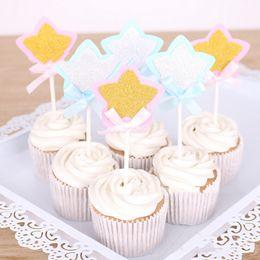 2019 stands de boda baratos Shinning estrella pajarita de la boda herramientas de decoración de pasteles de cumpleaños decoración de la boda pastel de cumpleaños topper soporte barato Inserter 976822 rebajas stands de boda baratos