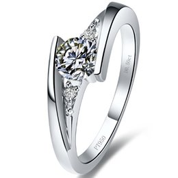 Wholesale Diamond Semi Mount Stone - Romantic Design Star twinkle 1 ct synthetic diamond rings sterling silver 18K white gold plated semi mount ring settings infinity ring