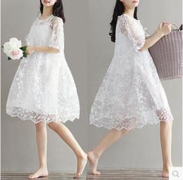 2019 twinset kleidung Umstandskleidungs-Sommer twinset Spitze-Mutterschaftseinteiliges Kleid weißes Stickerei-Umstandskleid für schwangeres rabatt twinset kleidung