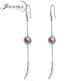 Длинные шкатулки для драгоценностей онлайн-Baroque long pearl earrings for women,wedding freshwater pearl earrings 925 silver jewelry anniversary gift 9-10mm gift box