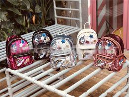 zaino coreano di svago di modo Sconti Moda coreano Ragazze Zaino Adolescente Bambini Paillettes Unicorno Graffiti Spalle Borse Borse da scuola per bambini Ragazze Borse da viaggio per il tempo libero Regalo di Natale