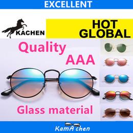 Wholesale Frame Sizes - KaChen 50mm size round Gold frame Green Lens UV400 3447N protection metal frame AAA 1:1 quality sunglasses glasses men women