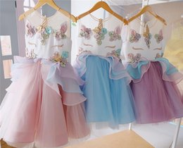 Wholesale Colors Gowns - Girls Unicorn Flower Dresses Unicorn Cartoon Sleeveless vest TUTU Dress 2018 New Kids Clothing Baby Girls Clothes 7 Colors Pre-order