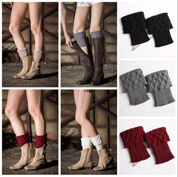 Wholesale boot socks warm - Women Winter Leg Warmers Crochet Boot Socks Toppers Cuffs Warm Chirstmas Foot Cover Socks 2pcs pair 10 Colors 200pairs OOA3863