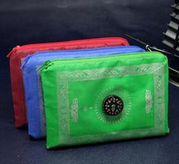 Wholesale Travel Prayer Mat Wholesale - Wholesale-10 pcs Muslim Travel Zipper Prayer mat Blanket with compass islamic gift for wedding