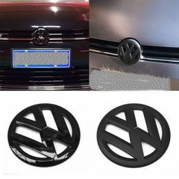 Noir vw polo en Ligne-Fit VW Golf Polo Passat Noir Brillant Logo Mat Badge Scirocco Tiguan Styling emblème voiture Logo Sticker Golf GTI Avant + Arrière / Set