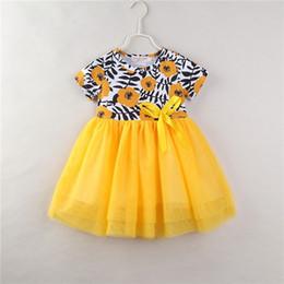 Wholesale floral gauze dress - Girls yellow floral lace dress for 1-6T flower printing kids ribbon bowknot gauze splicing short sleeve princess dress B11