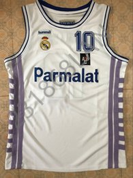 Wholesale Color White Jersey Basketball - Drazen petrovic Real Madrid vintage men's White BASKETBALL JERSEY Embroidery Stitches Customize any size and name