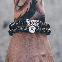 lion bracelets Coupons - 2 Pcs Set Animal King Lion Bracelet Black Natural Stone Beads Couple Braslet Sets For Men Hand Jewelry Erkek Bileklik
