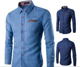 Wholesale Denim Shirt Men - New Fashion Luxury Brand Men Denim Shirt Pocket Fight Leather Dress Shirt Long Sleeve Slim Fit Camisa Masculina Casual Male Shirts