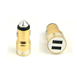 Wholesale Iphone Usb Camera Adapter - 3.1A dual USB car charger Round Aluminum Metal Safety Hammer Charger Adapter For Phone Ipad Digital camera