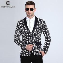 Wholesale Costumes Class - City Class 2016 New Spring Mens Blazer Fashion Slim Fit Bussiness Casual Suits Eupo Size Jackets Veste Costume Homme 6001