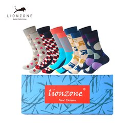 Wholesale Mens Funny Socks - Mens Cotton Colorful Happy Socks Gift Box Fruit Crazy Calcetines Hombre Invierno Funny Skate Socks Lionzone New Arrival 5PCS Lot
