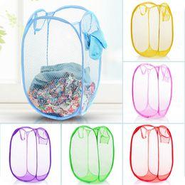 Wholesale laundry basket clothes - 14styles Mesh Fabric Folding Laundry Basket Toy clothes Washing Basket Foldable Dirty Clothes Storage Organizer FFA627 120PCS