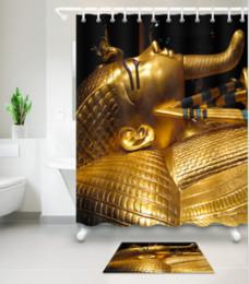 3D égyptien portrait imprimé personnalisé imperméable à l'eau de bain moderne tournesol rideau de douche polyester tissu salle de bain rideau porte mat définit ? partir de fabricateur