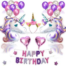 Fasce di compleanno felice online-38pcs / set Unicorn Patry Foil Balloon Set Rifornimenti del partito Set Fascia Birthday Party Decoration Buon compleanno lettera palloncini