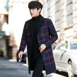 2019 бархатная мандарина с воротником мужчины пальто зимнее бизнес повседневная длинная куртка мужчины полосатый плед пальто Мужские