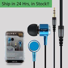 Nuovo 3.5mm In-ear HUAST-22 Auricolare Super Clear Bass Metallo Auricolari Cuffie Noise Isolating Auricolari per MP3 MP4 Mic Telefono cellulare Auricolare da