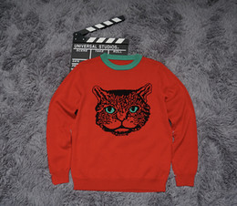Wholesale Cat Sweater Xl - Top quality Winter Cotton sweater cat head print High quality streets black m156