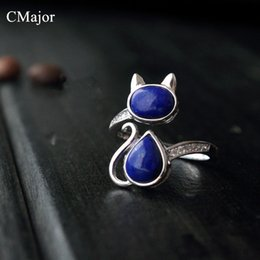 Wholesale Lapis Stone Ring - Wholesale- CMajor 925 sterling-silver-jewelry classical natural stone lapis lazuli jewelry adjustable cat rings for women Mother's Day Gift