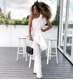 Wholesale big flower pictures - Vintage One Shoulder White Women Jumpsuits Prom Dresses With Big Bow Formal Party Gowns Custom Made Evening Dress Bridal Guest Pant Suits