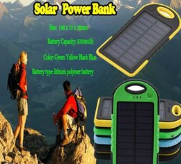 Wholesale Power Bank Portable External Battery - 5000mAh Solar power bank waterproof shockproof Dustproof portable Solar powerbank External Battery for Cellphone iPhone 7 7Plus