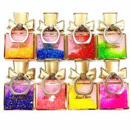 Wholesale Ring Liquid - Universal Finger Ring Holder Luxury Dynamic Liquid Glitter Perfume Bottle Bracket Phone Stand For iPhone Samsung tablet pc