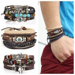 Wholesale turkish eye bracelets - Tribal Blue Evil Eye Handmade Weave Leather Bracelet Multilayer Adjustable Bangle Cuff Charm Fine Turkish Jewelry OOA4489