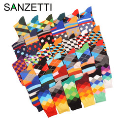 Wholesale Oil Painting Green - SANZETTI 5 pair lot Funny Pattern Bright Colorful Men Socks Argyle Oil painting Dot Striped Combed Cotton Crew Socks Wedding