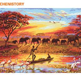 2020 handgemalte elefantenwandkunst GESCHENK Elephant Sunset Diy Malen nach Zahlen Landschaft moderne Wand Kunst Leinwand Malerei handbemalt einzigartiges Geschenk für zu Hause günstig handgemalte elefantenwandkunst