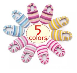 Wholesale Rainbow Striped Fabric - xmas ins infant rainbow anti lost walking shoes baby striped cotton first walkers shoes best for 0-18Mos 5colors choose free ship B11