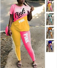 Wholesale auto race shirts - Women VS Tracksuit Jogger Outfit Pink Sportswear Multi Color Matching Patchwork Splicing Short Sleeve T Shirt Pants Set Pink Letter Leggings