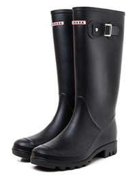 Wholesale black hunter boot - 2018 NEW Women RAINBOOTS fashion Knee-high tall rain boots waterproof welly boots Rubber rainboots water shoes rainshoes 9810