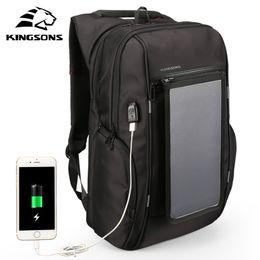 Sacos painéis solares on-line-Kingsons 15.6 polegada Mochilas Painel Solar Conveniência de Carregamento Mochilas Laptop Sacos para Carregadores de Viagem Carregador Solar Daypacks