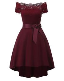 Nouvelles robes à la mode en Ligne-Printemps / Été New Fashionable Sexy Fit Femmes Dress, Parole Épaule Dentelle Ruban Bow Dentelle Robe Party Dress