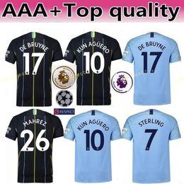 26 shirt 2018 - 18 19 FC Man Manchester City Soccer Premier League 26 MAHREZ Jersey 17 DE BRUYNE BERNARDO SILVA FERNANDINHO Football Shirt Kits Blue Black